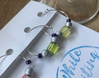 Silver neon wine charms/ vintage vibe wine charms/ hostess gifts