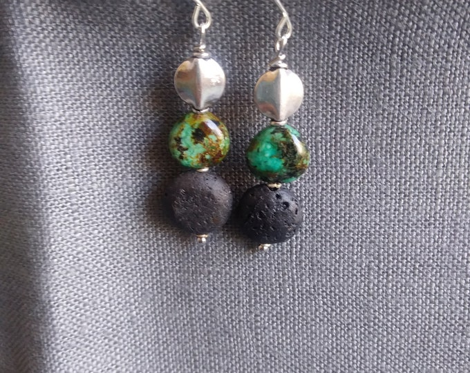 Diffuser earrings / Essential oil Diffuser earrings/  turquoise sterling and black lava stone earrings/ turquoise earrings / modern style ea