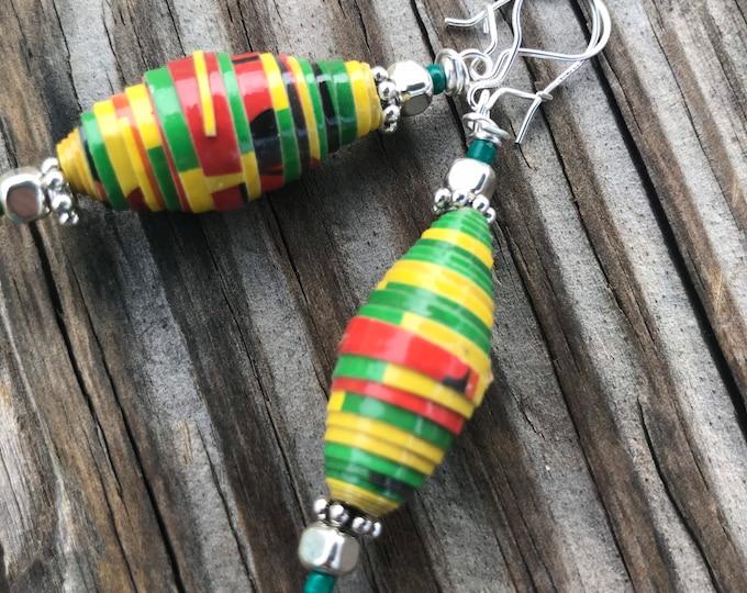 Sterling silver black, yellow & green paperbead earrings / multicolored earrings ecofriendly jewelry