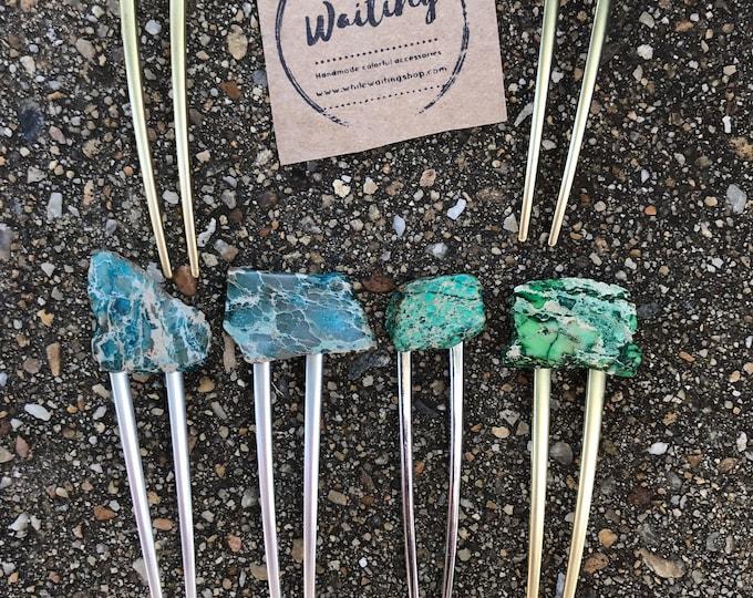 Turquoise Stone hair fork/ green hair pin/ blue hair fork/ hair accessory/ raw stone hair fork/ boho hair clip/ hair fork/ aqua