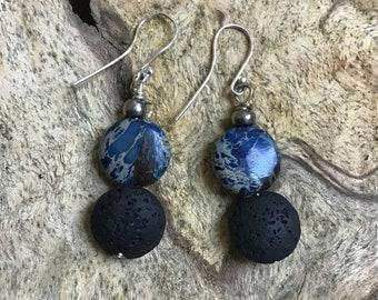 Diffuser earrings / Essential oil Diffuser earrings/  blue jasper sterling and black lava stone earrings/ blue stone / modern style