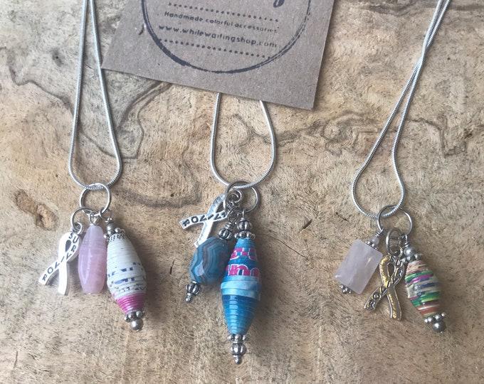 Sterling Silver survivor charm cluster necklace/ pendant necklace/paperbead/ sterling silver/ stone/ bone/ survivor
