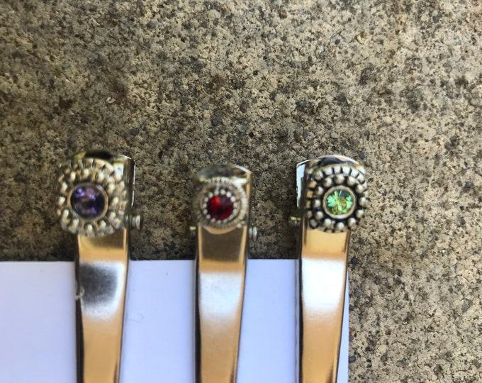 Feminine Silver gem hair clips/ hair pins/ hair pins/ birthstone hair clips