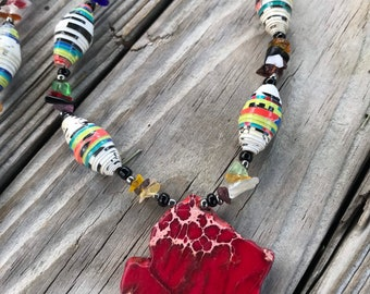 Turquoise /red Rock statement necklace- paperbead necklace / pendant statement necklace/ beaded necklace