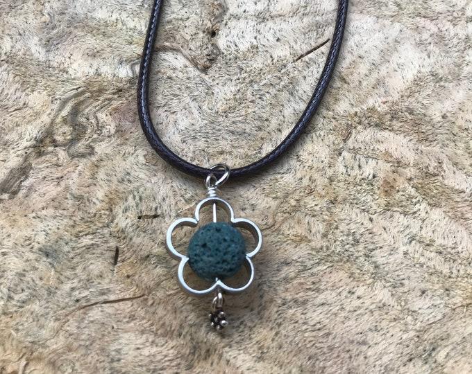Essential oil Diffuser necklace/ lava stone necklace/ green lava stone necklace/ silver flower necklace