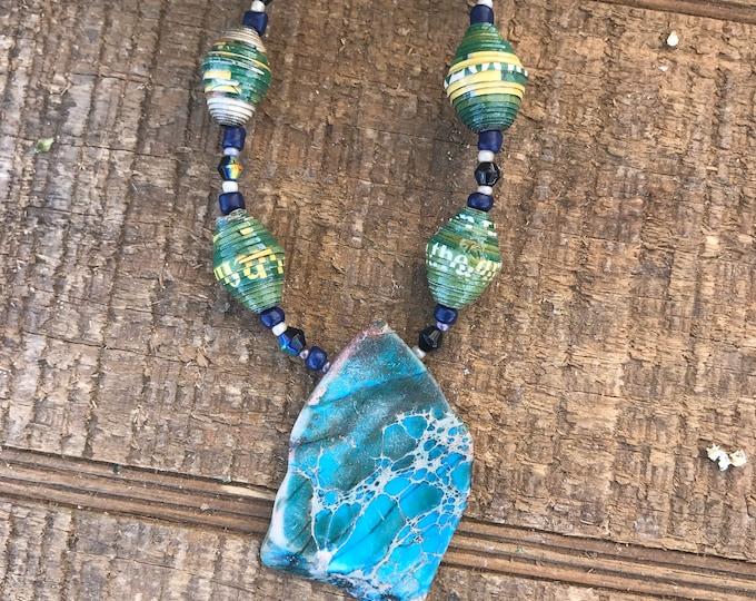 Kelly green/ navy blue Rock statement necklace- paperbead necklace / pendant statement  beaded necklace