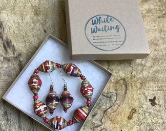 Red and brown paper bead bracelet and earrings set/ handmade bracelet set/ eco- friendly gift set