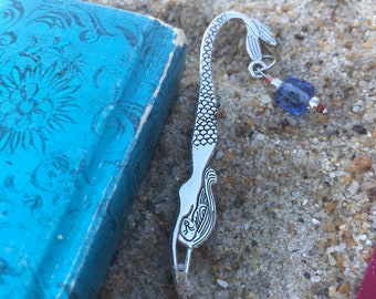 Mermaid charm bookmark/ pewter dragon charm bookmark / fictional gifts for readers
