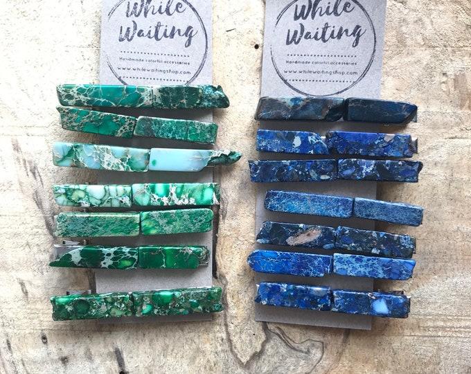 Stone hair clip/ blue hair clip/ green druzy hair clip/ hair accessory / raw stone hair clip/ boho hair clip/ tie clip