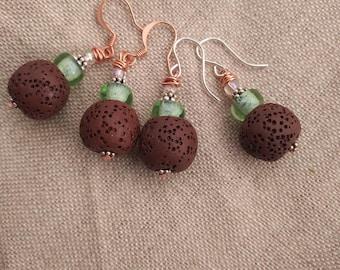 Chartreuse earrings/ brown lava stone earrings/ diffuser earrings/ copper & silver earrings/ brown diffuser earrings/ copper earrings