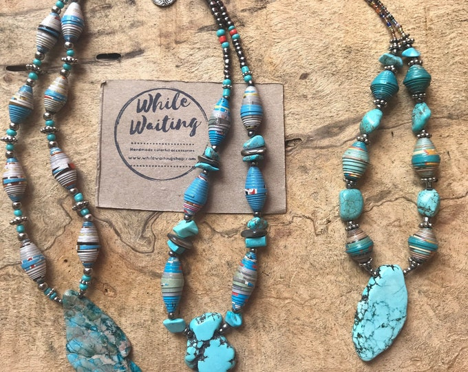 turquoise Rock statement necklace- paperbead turquoise pendant  beaded necklace