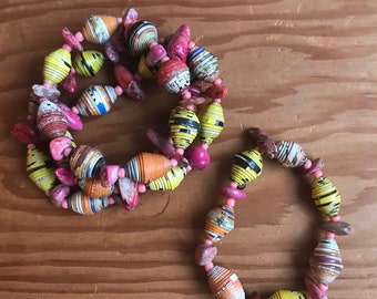 Pink/ orange / yellow Paperbead stretch bracelet- multicolored/ recycled/ Haitian paperbeads/ boho stone