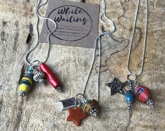 Sterling Silver star charm cluster necklace/ pendant necklace/paperbead/ sterling silver/ stone/ bone/ star