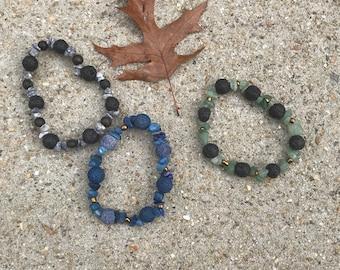 Diffuser bracelet- blue / green/ black/ lava/ glass/ wood/stone beachy/ Unisex Diffuser Bracelets / Essential Oils Jewelry