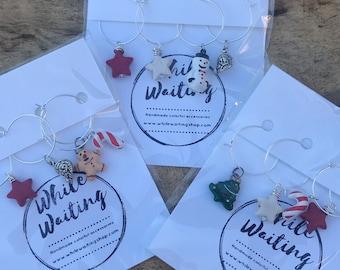 Wine glass charms- festive Christmas set of 4