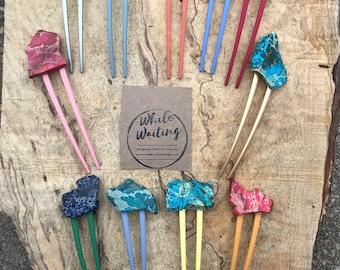 Turquoise Stone colorful hair fork/ bright hair fork / druzy hair fork/ hair accessory / raw stone hair fork/ boho hair pin/ hair stick