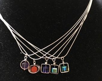 Minimalist sterling silver pendant necklace/ amethyst/ jasper/ erinite/ tanzanite