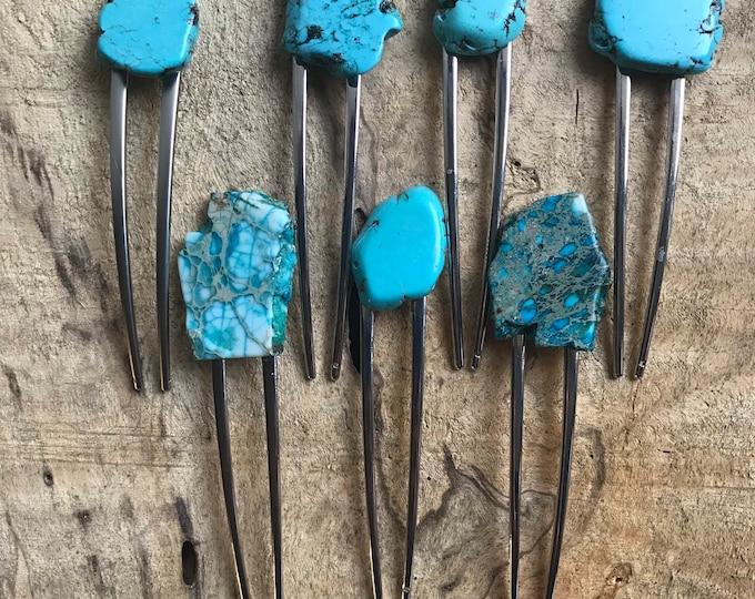 Turquoise Stone hair fork/ natural tone hair fork / druzy hair fork/ hair accessory / raw stone hair fork/ boho hair pin/ hair stick