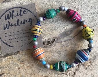 Paper bead Bracelet- vintage silver & Haitian paperbead ecofriendly/ multicolored / stretch bracelet