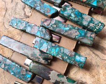 Turquoise blue Stone hair clip 2 in / aqua green hair clip/ druzy hair clip/ hair accessory / raw stone hair clip/ boho hair clip/ tie clip