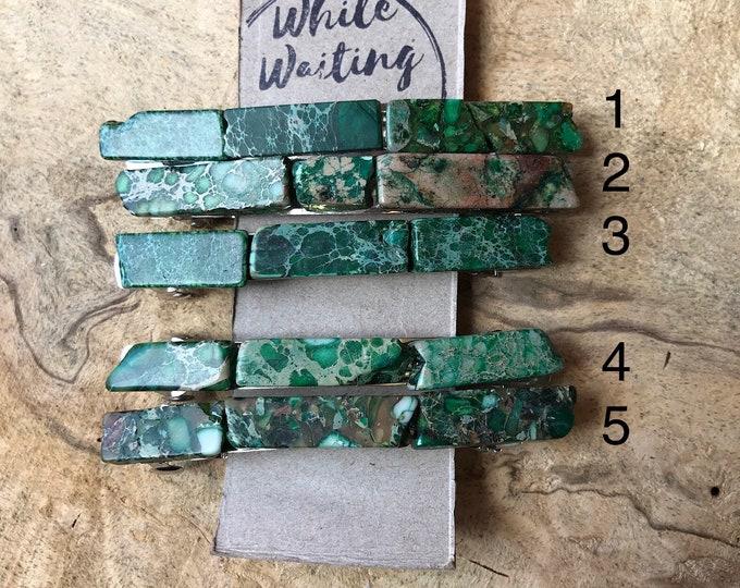 Extra large Kelly green stone hair clip/ 4 inch green hair barrette / druzy hair clip/ hair accessory raw stone hair clip/ hair barrette