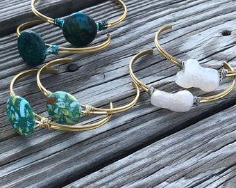 Boho brass cuff bracelet/ turquoise/ druzy quartz stone / adjustable bangle