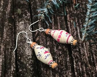 White paperbead Earrings-silver & wood earrings - white Haitian paper bead earrings - boho earrings