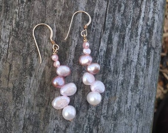 Blush Pink rose Pearl earrings-  bridesmaids jewelry/ pearl jewelry /classic pearls/ 14k gold/ bridal jewelry