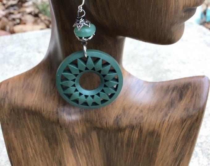Jade/ green wood hoop earrings / bohemian wood earrings / statement earrings