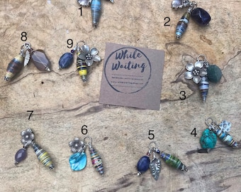 Pewter flower/ leaf charm cluster sterling silver  pendant necklace/ handmade paperbead/ sterling silver/ jasper stone/ paperbead necklace
