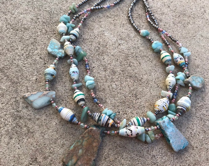 Statement stone and paper beaded necklace/ amazonite necklace/ raw chunky stone necklace/ multi strand necklace blush pale aqua
