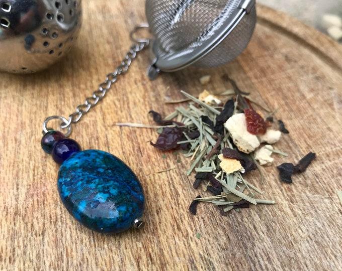 Tea infuser/ turquoise & navy blue tea infuser/ tea strainer / loose leaf tea strainer/ loose leaf tea infuser