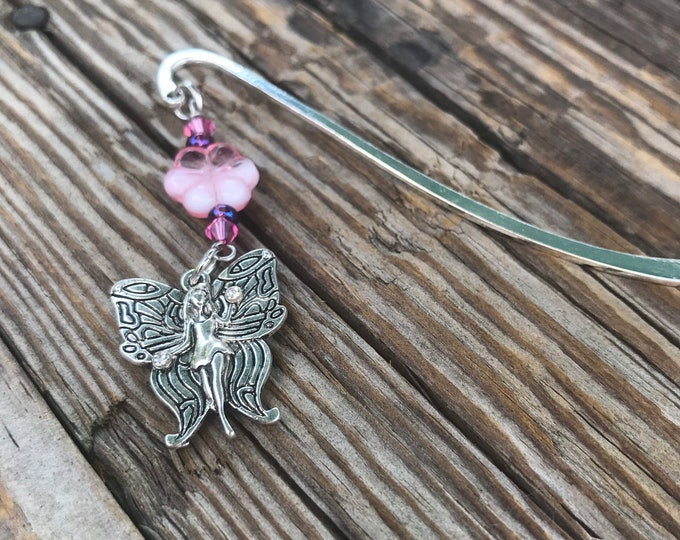 Pink flower fairy charm bookmark/ fairy charm bookmark / girls fantasy gifts for readers