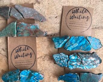 Turquoise Stone hair clip/ blue green hair barrette / aqua hair clip/ hair accessory / raw stone hair clip/ boho hair clip/ hair barrette