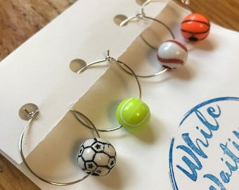 Sports wine charms/ tennis wine charms/ hostess gifts