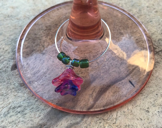 Wine glass charms- large or small flower  set of 4
