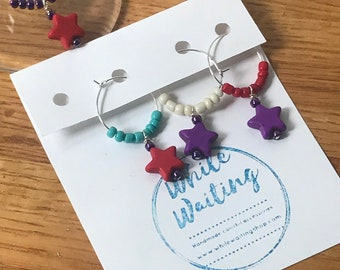 Star Wine glass charms- turquoise , purple and red set of 4