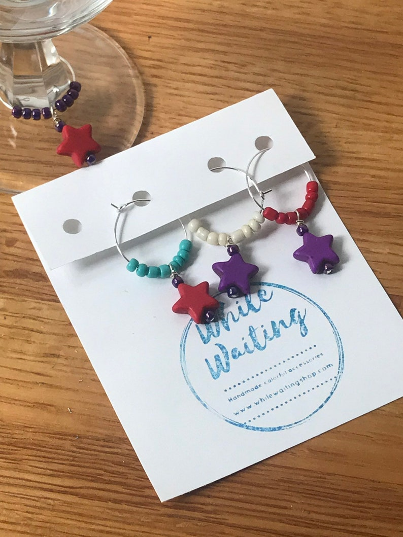 turquoise Star Wine glass charms purple and red set of 4