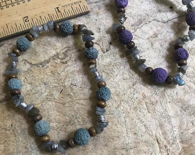Men's diffuser bracelet/ unisex green purple brown lava stone  essential oils diffuser bracelet