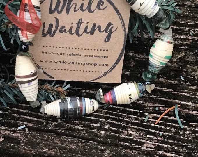 Boho stretch bracelet- green stone/ recycled/ Haitian paperbeads / green/white