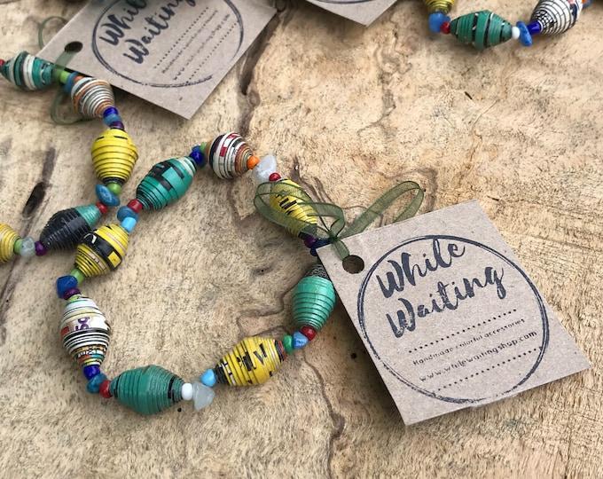 Wholesale / bulk bracelets/ recycled paperbead bracelets/ green& yellow blue