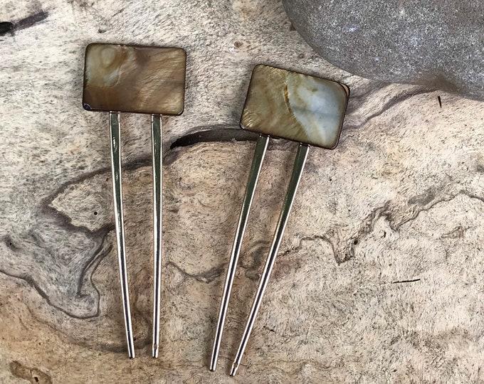 Modern gold shell hair fork/ rectangular hair fork/hair fork/hair accessory / natural brown hair fork/ boho hair clip/ hair stick/ hair pin