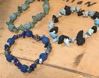 Diffuser bracelet- lapis lazuli / green aventurine / amazonite stone/ black/ lava/ glass/ wood/ Unisex / Essential Oils Jewelry