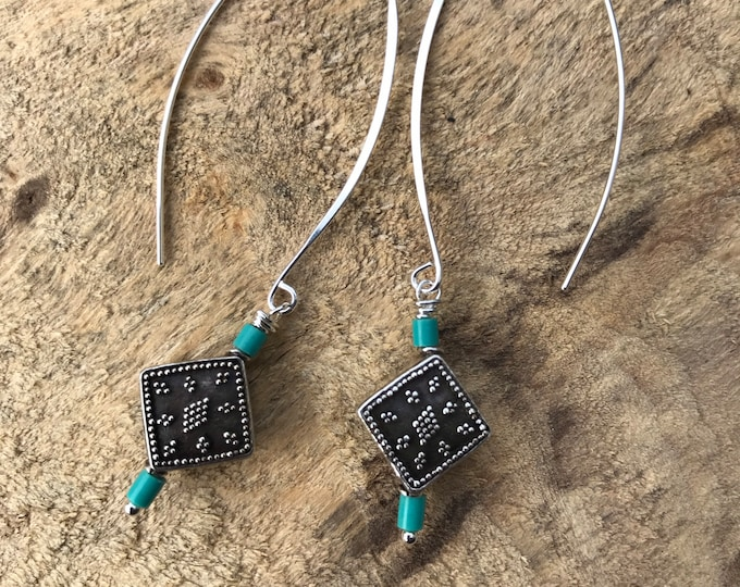 Turquoise western silver threader earrings/ sterling silver threader earrings/