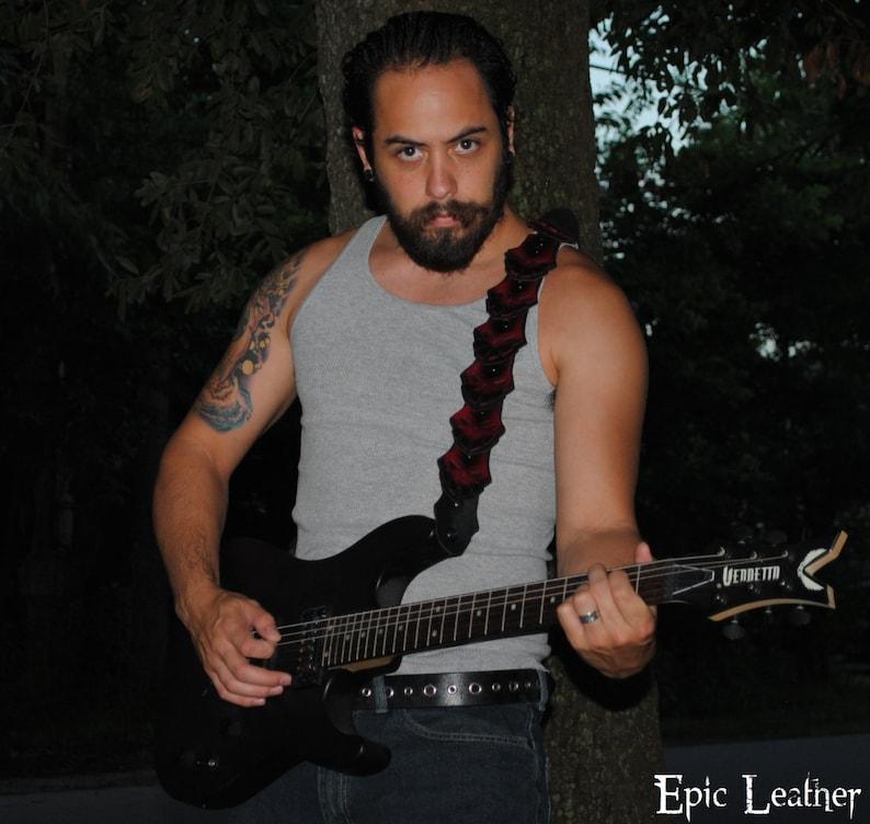 Distressed Bone Demon Skull Scale Guitar Strap