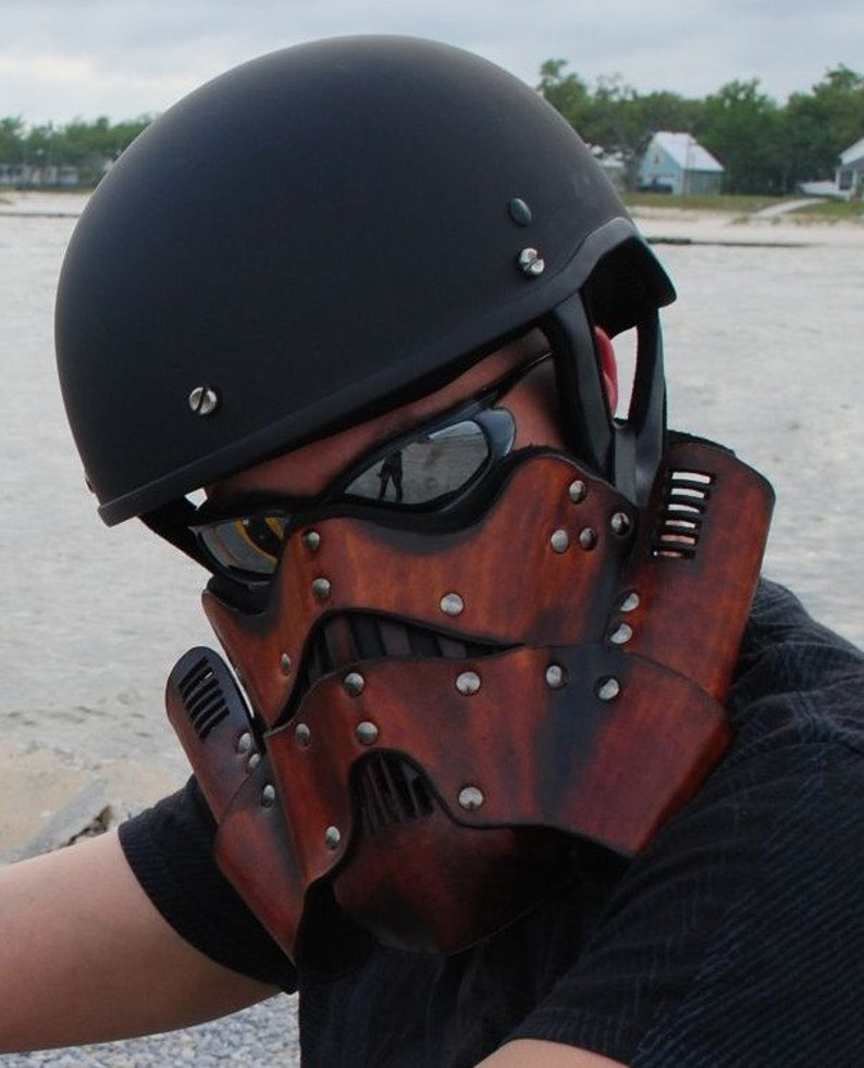 Leather Steampunk Trooper Motorcycle Mask image 0