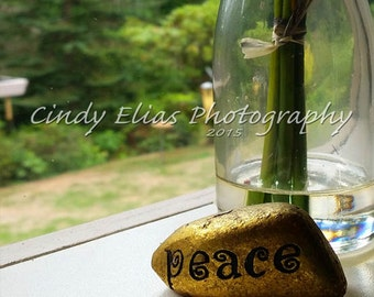 Note card, Blank Note card, Greeting card, Nature, Gold, Friends, Stone, Peace, Flowers, Vase, serenity, peaceful