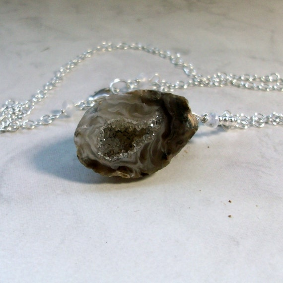 Onyx Geode Crystal Metaphysical Reiki Infused Chakra Healing Pendant on 22 Sterling Silver Chain Necklace