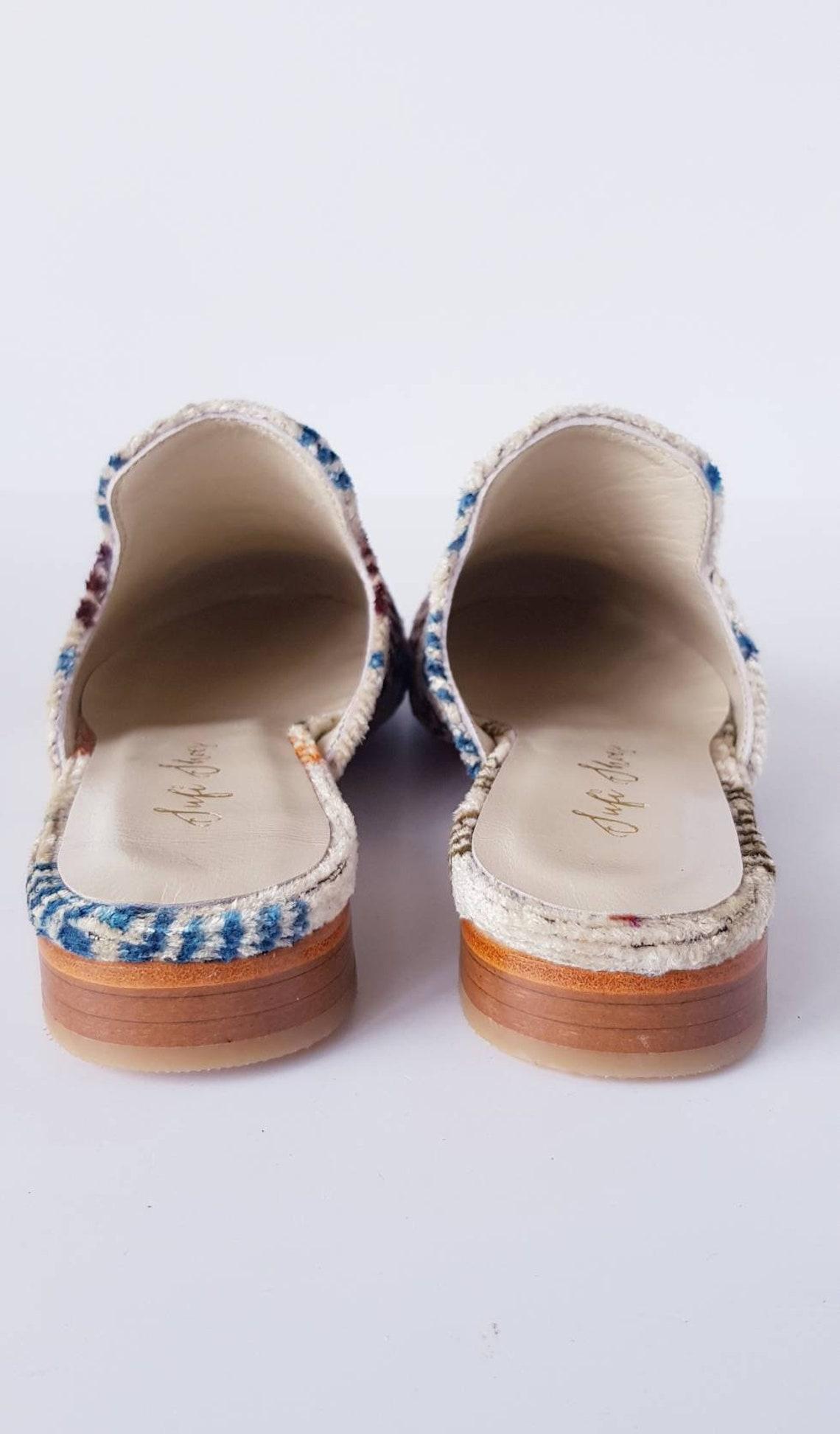 Ikat velvet Sandal Slipper shoes for Women made by loom made velvet ikat Euro size 39 and shipping by Dhl