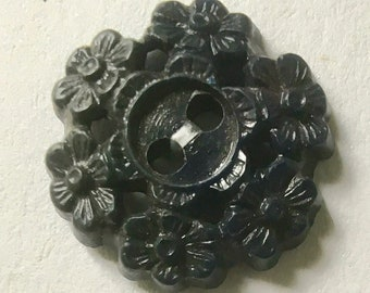 Vintage Early Plastic Fancy Black Buttons for Sewing and Crafting